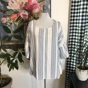 NWT Bobeau Striped Gauze Woven Blouse Size XL 4C